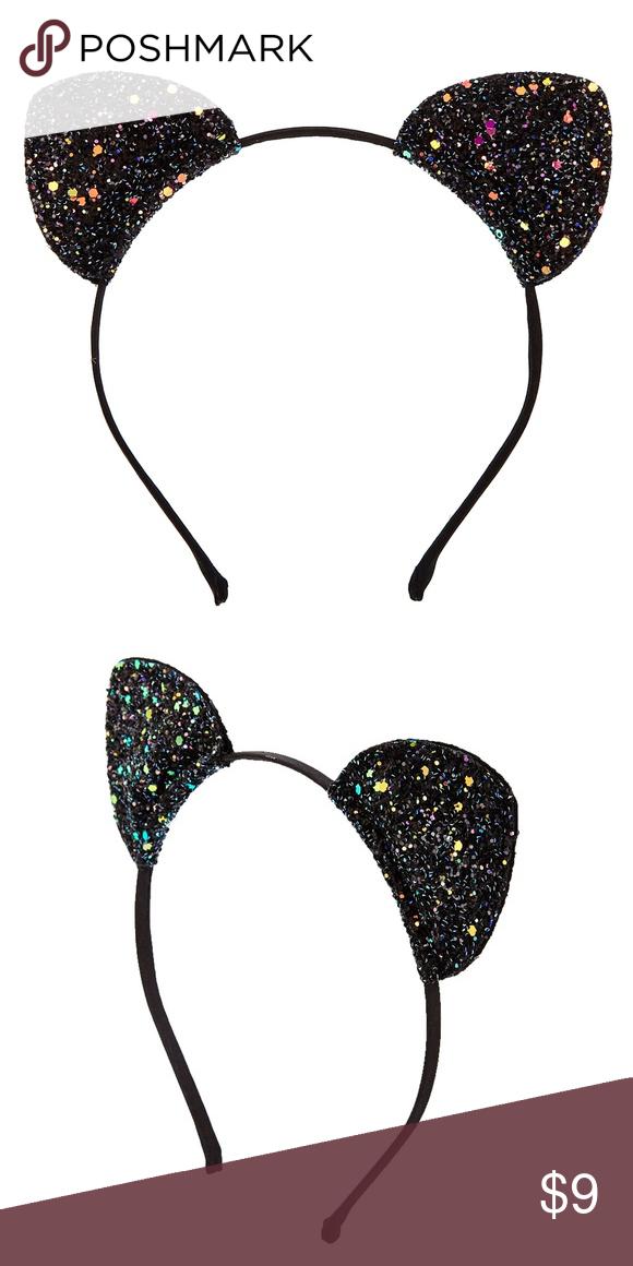 Claire S Black Glitter Cat Ears Headband New Claire S Black Glitter Cat Ears Headband New Never Worn Stay Up Glitter Cat Ears Ear Headbands Black Glitter