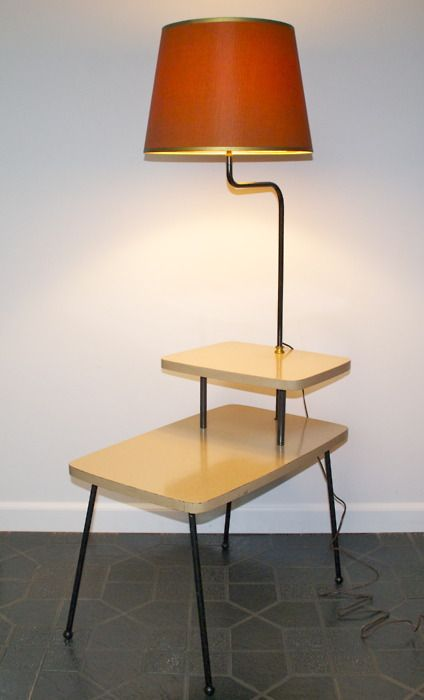 Vintage Side Table With Attached Lamp Great As A Night Stand The