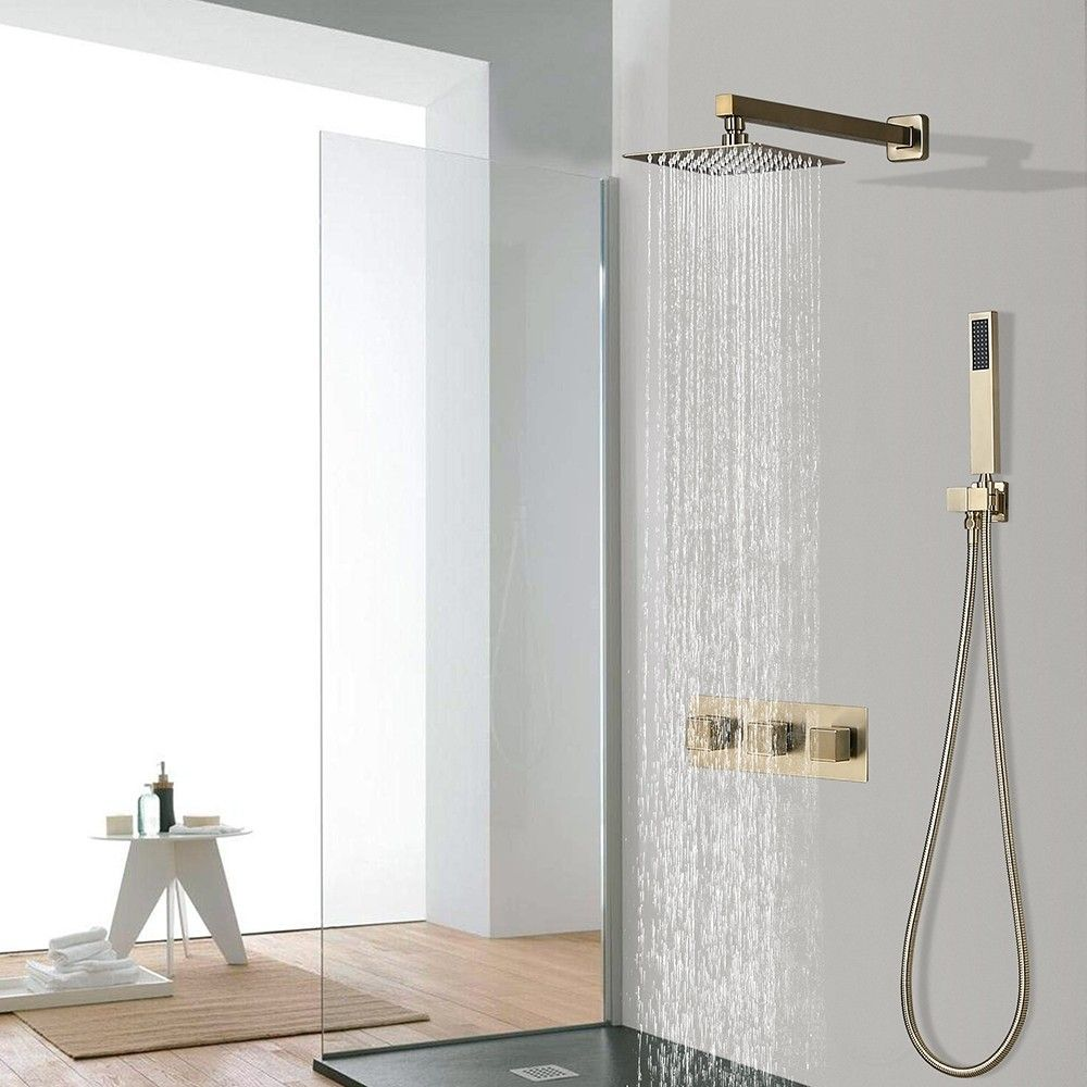 Modern Luxury 8 Square Rain Shower Head Wall Mounted Solid Brass