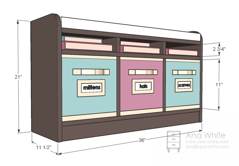 Perfect Cubby Bench--great for school to keep PE shoes inside the ...