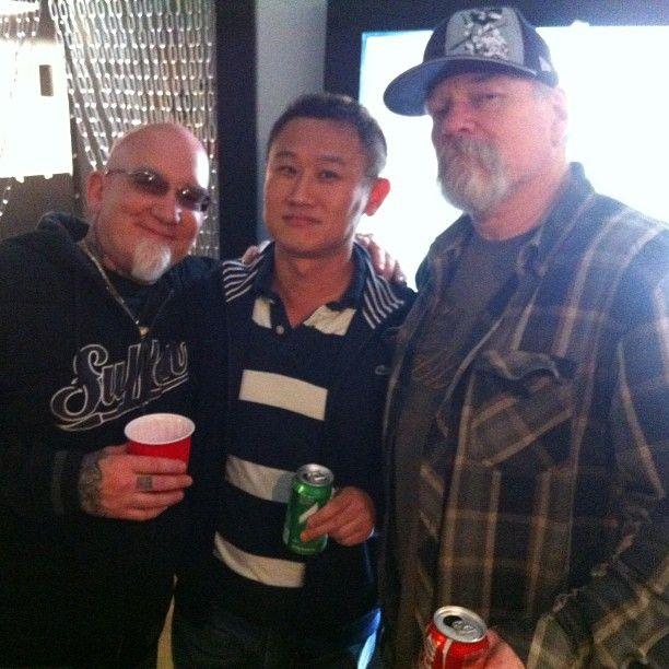 Mithra's Rick Li with Bob Tyrrell and Jack Rudy.