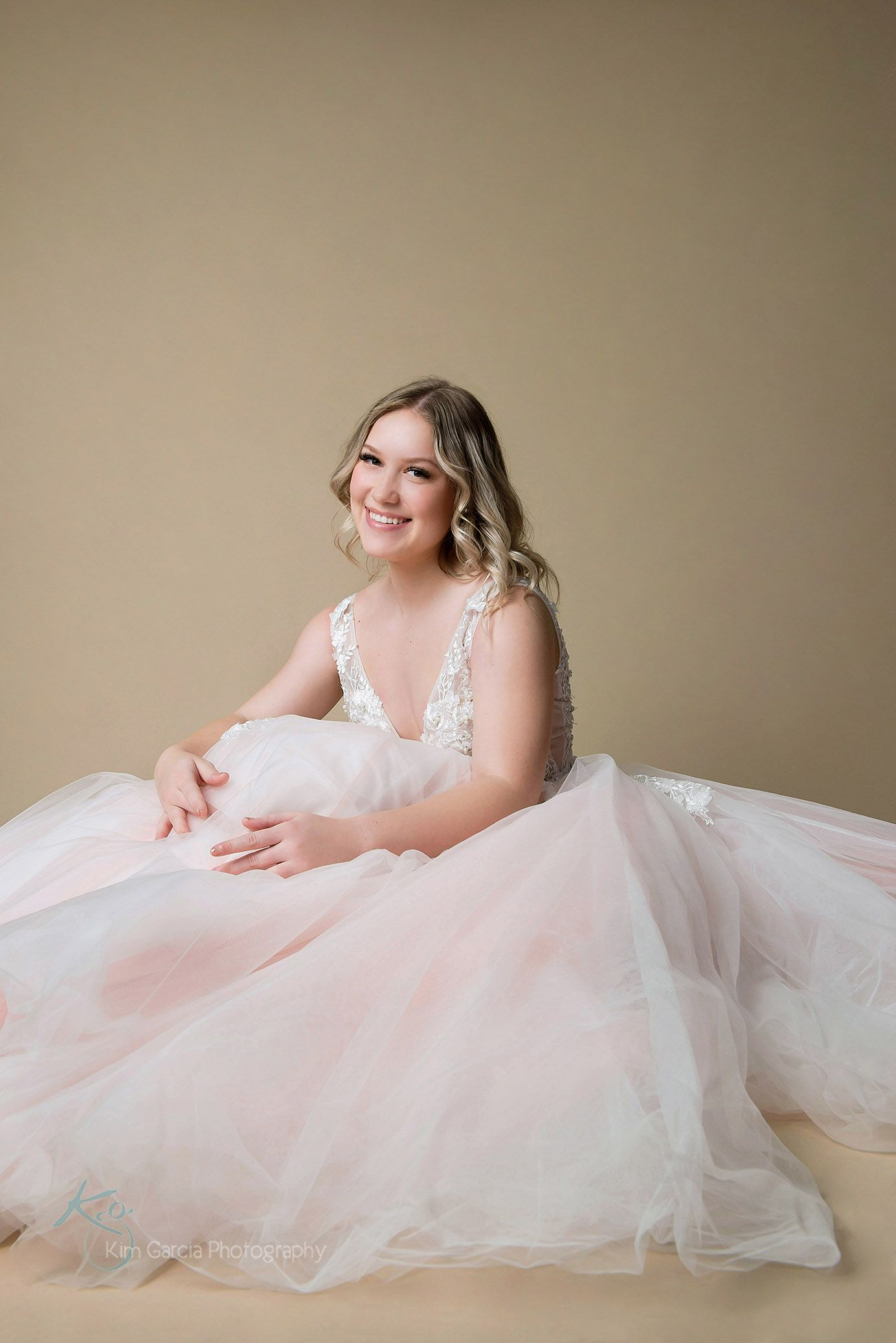 High School Senior Girl in Blush Dress   Senior portraits girl ...