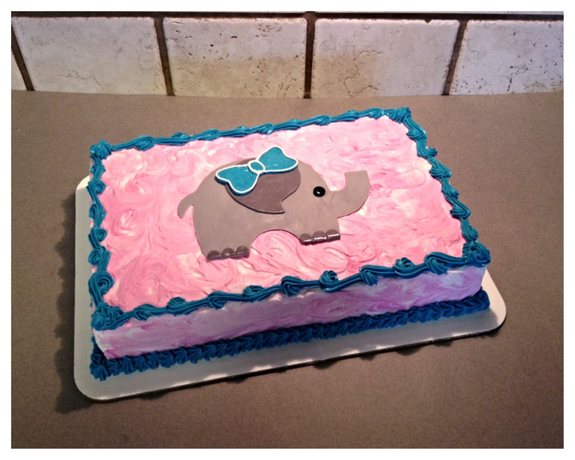 Pink and turquoise baby elephant sheet cake The Great Cakery