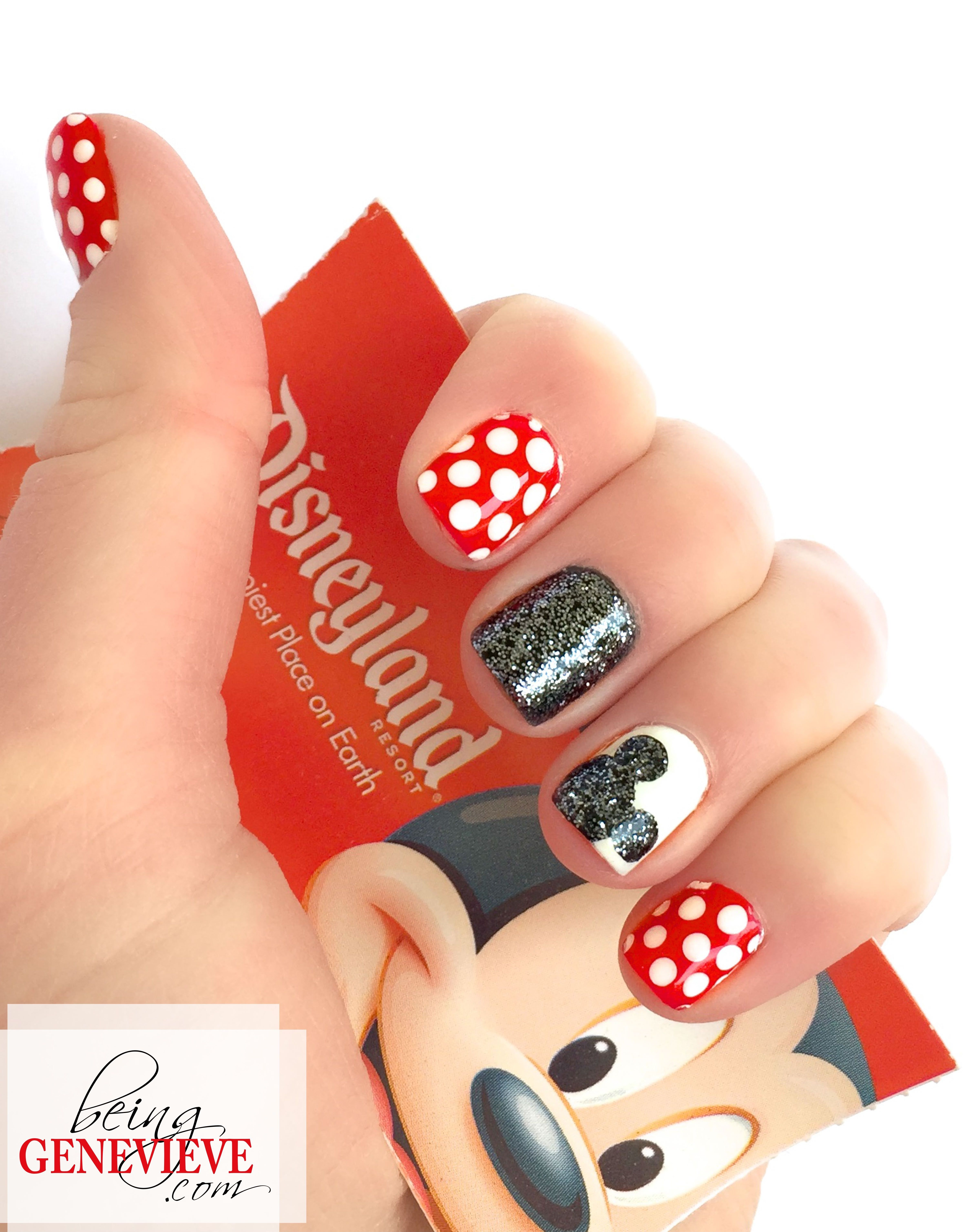 Magical Mickey   Being Genevieve  Step-by-step tutorial on how to create this cute disney nail art design. Come see how to make the Mickey silhouette sparkle. . .