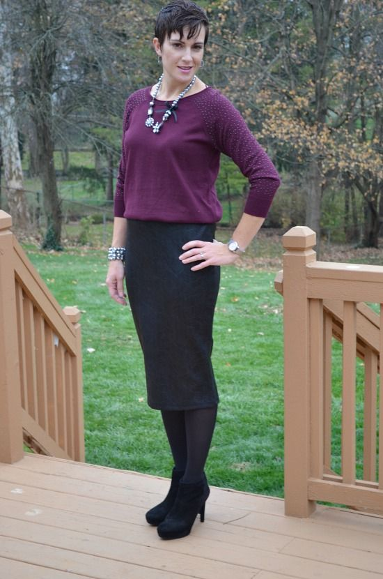 06ec85325bb2e Stylish Thanksgiving Day Outfits from Kohl's. Burgundy raglan sweater,  black midi scuba skirt, black tights, black booties, statement necklace.