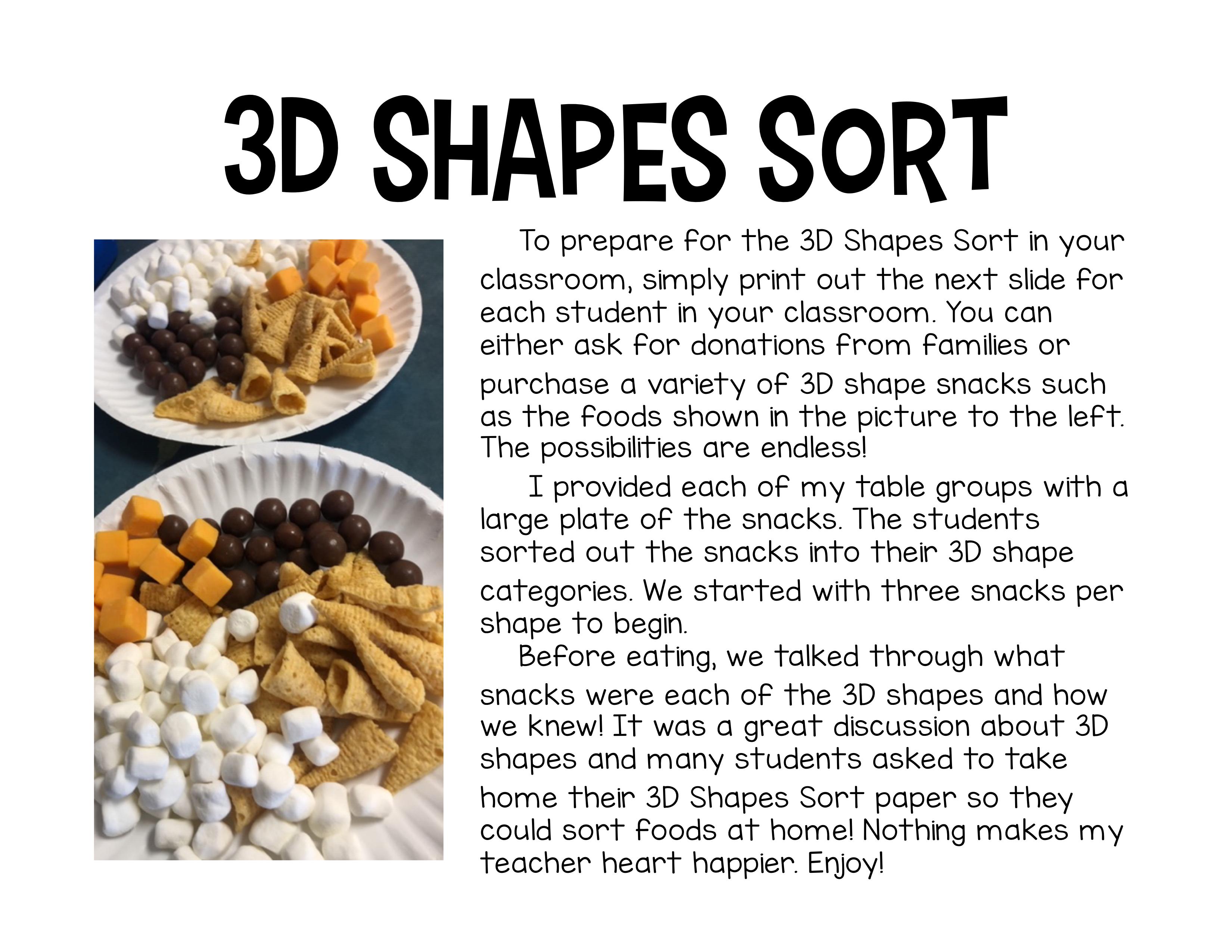 3d Shapes Food Sort