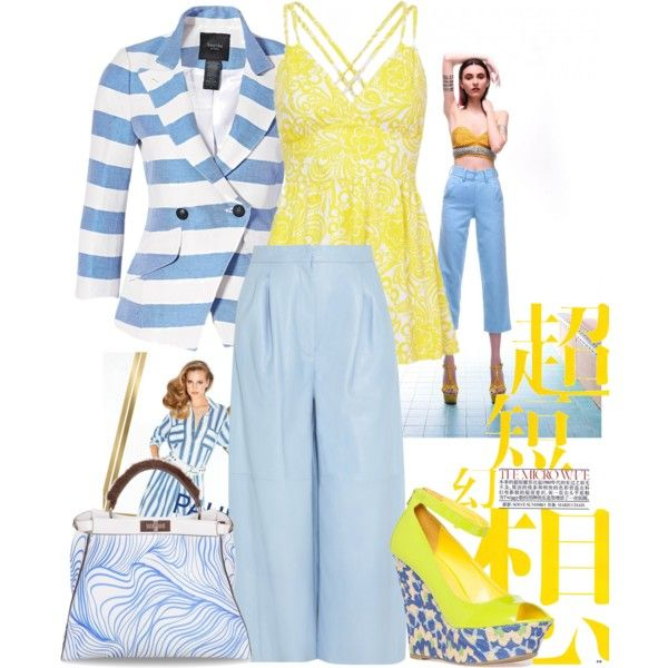 """""""Yellow & Blue Stripes"""" by bysc on Polyvore"""