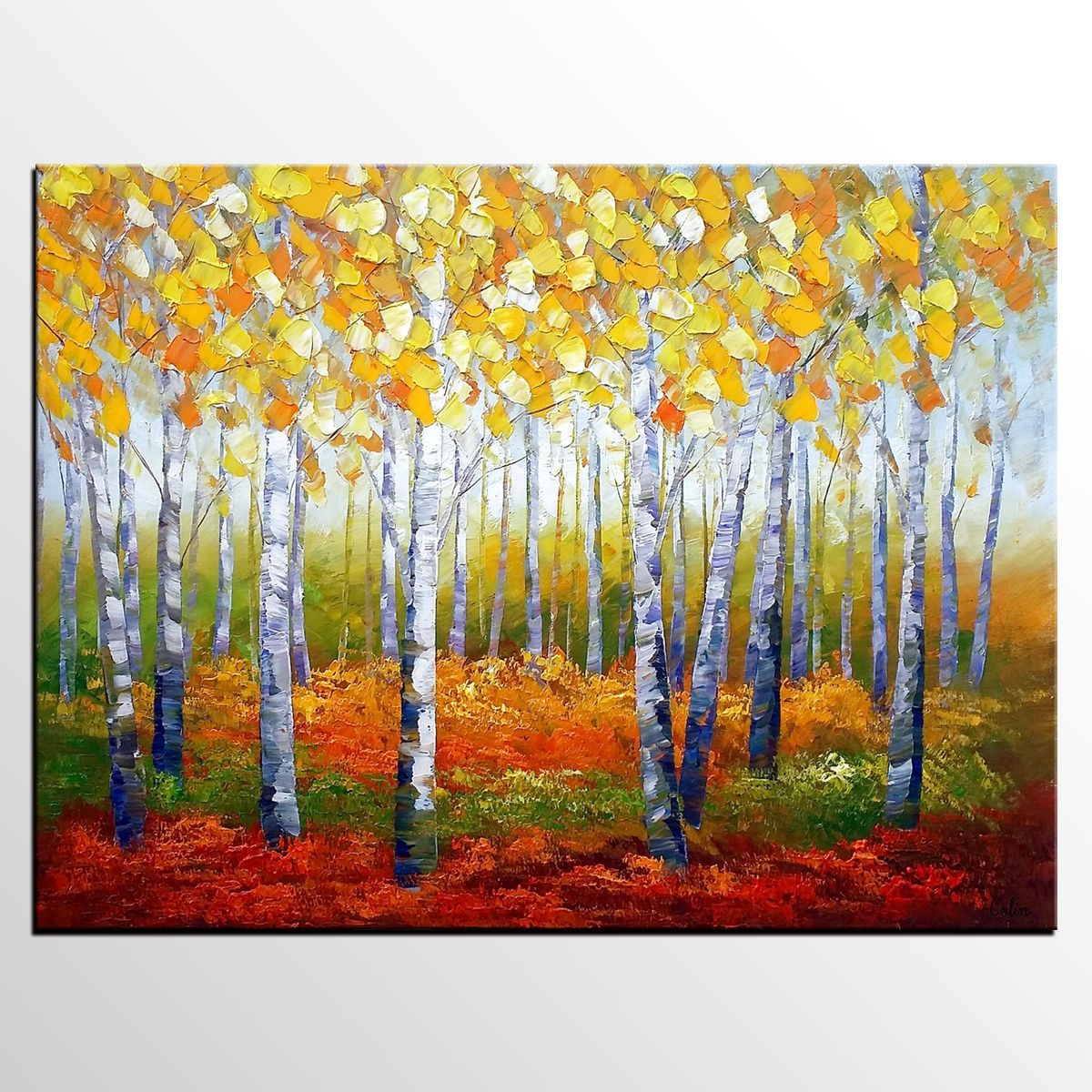 Abstract Art, Canvas Wall Art, Heavy Texture Art, Autumn Tree ...