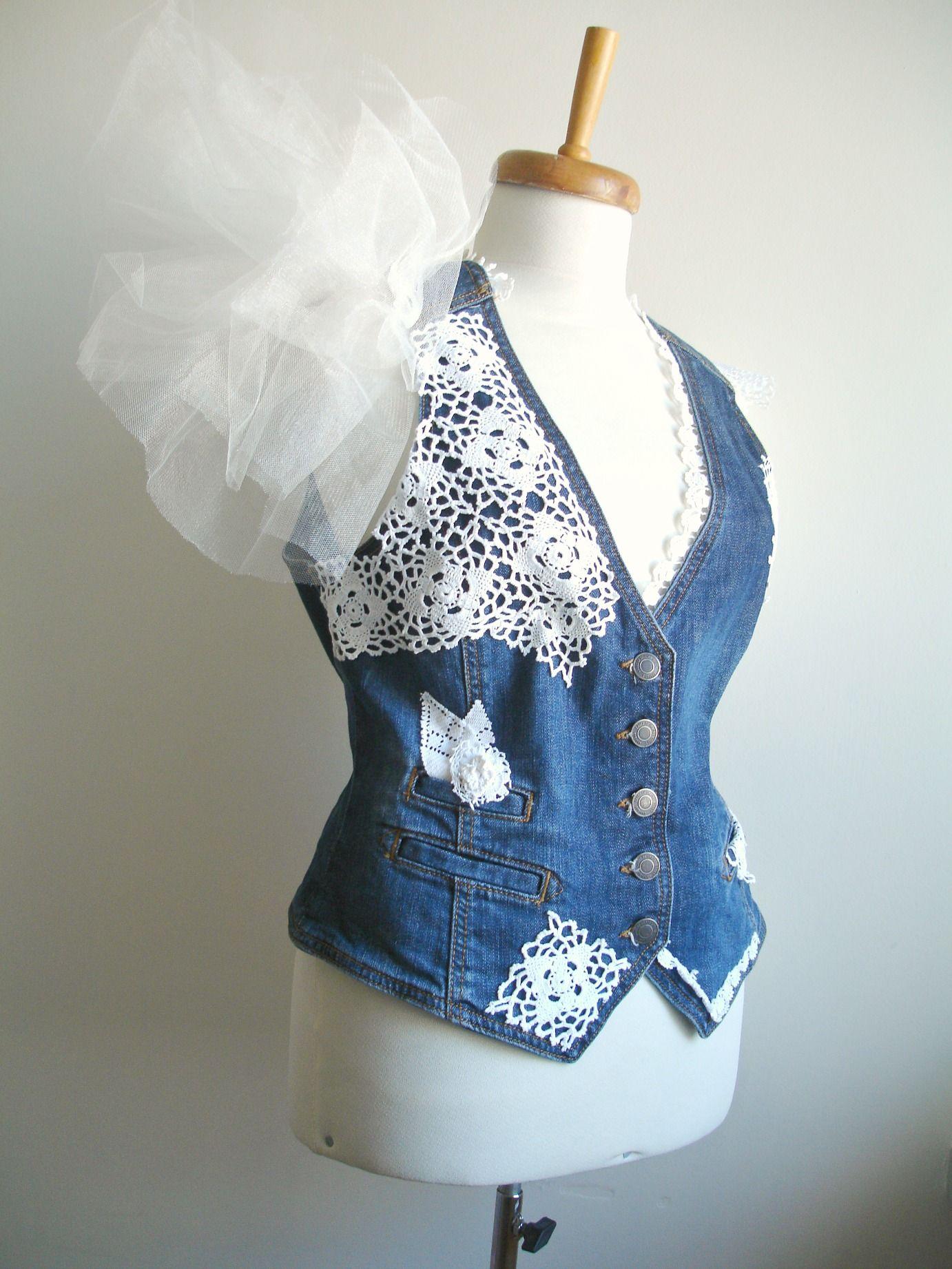 Upcycled denim vest unique bridal with vintage lace and doilies