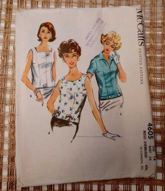 Vintage pattern McCall\'s 4605 1950s Top blouse shell sewing ...