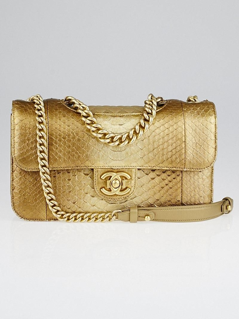 1accd96b84643b This 2014 version of the Perfect Edge medium flap bag features metallic gold  python with leather trim and a long antique gold-tone chain-link strap with  a ...