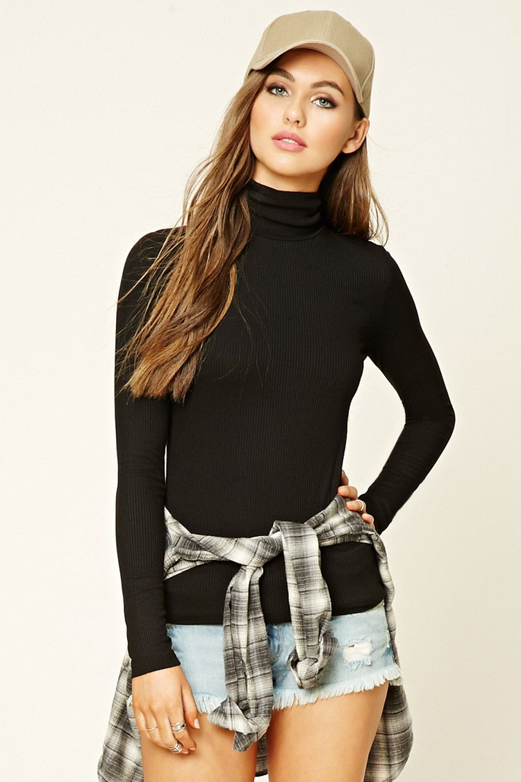 Ribbed knit turtleneck top forever sweater
