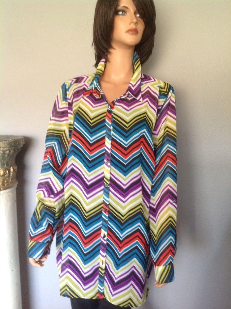 5fd08028e8f Lane Bryant Blouse Tunic Women's Plus Size 22 24 Multicolor Designer  Fashion