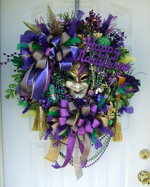 FREE SHIPPING Mardi Gras Multi Textured and Pattern Ribbon Wreath