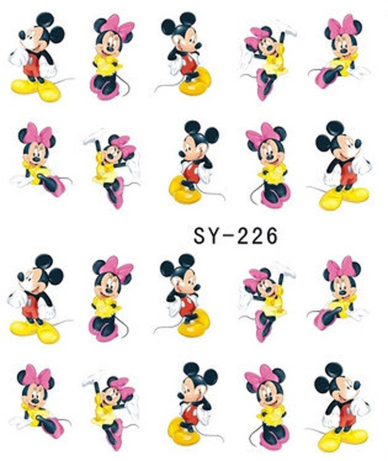 3 Sheets Mickey Mouse and Minnie Disney Cartoon Nail Art Stickers ...