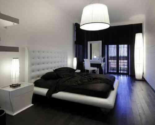 Déco noir et blanc avec touches de couleur chambre à coucher ...