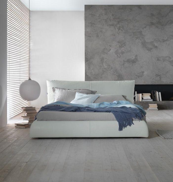 Einfache Ideen zum Schlafzimmer streichen -Wandputz-Effekt in Grau - streichen schlafzimmer