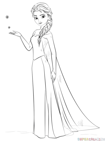 How To Draw Elsa From Frozen Step By Step Drawing Tutorials For Kids And Beginners Disney Princess Coloring Pages Frozen Coloring Pages Elsa Coloring Pages