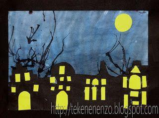 Tekenen En Zo Halloween.Tekenen En Zo Stad Bij Nacht Classroom Holidays Seasons
