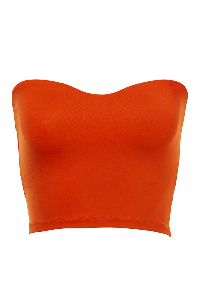 49dd53e2245 Kookai Orange Sophia Bralette is made from the signature polyamide fabric.  The garment is a strapless style with sweet heart neckline and is cropped  in ...