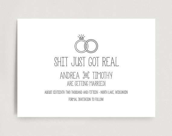 Funny Save The Date Printable Shit Just Got Real Wedding