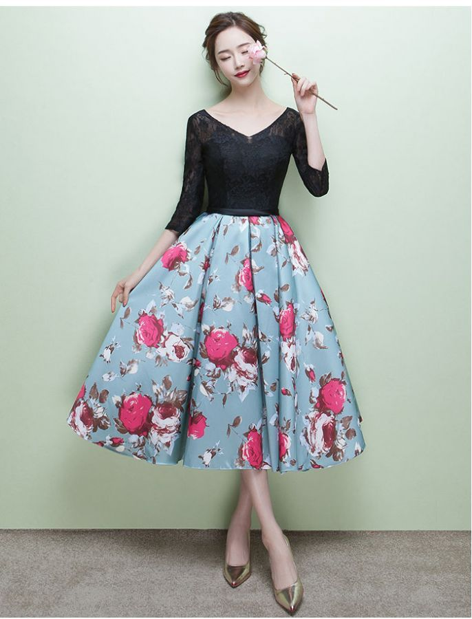1950s Grace Kelly Inspired Floral Dress Prom Wedding Dress | 1950s ...
