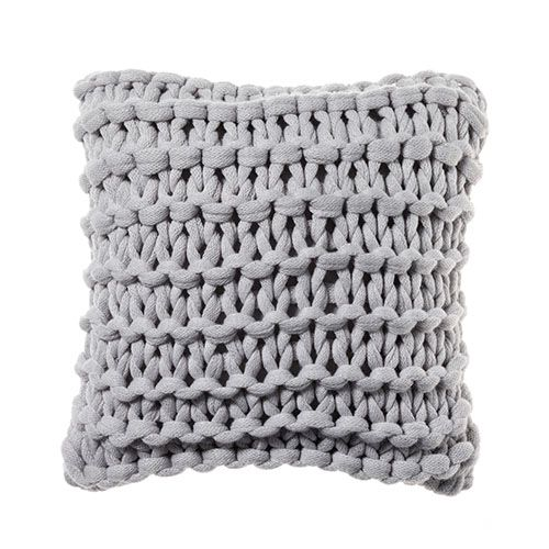 Adairs Kids Kennedy Knit Cushion Pale Grey Home Gifts