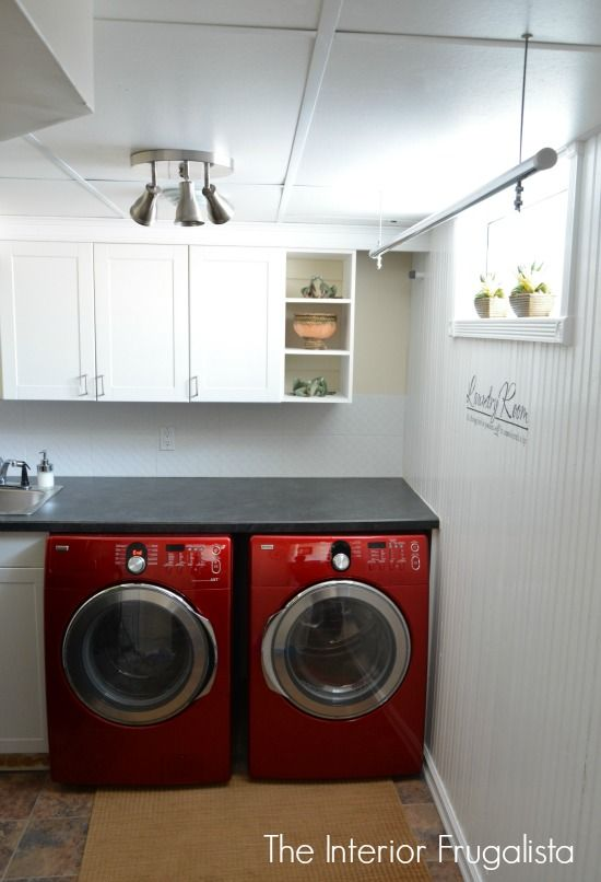 Diy Suspended Clothes Drying Rod Laundry Room Diy Laundry Room