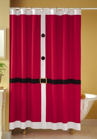 Amazon Com Red Santa Suit Christmas Shower Curtain By