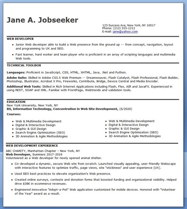entry level web developer resume