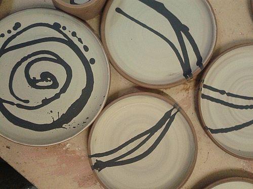 Inky slip trailed plates waiting to be honey glazed