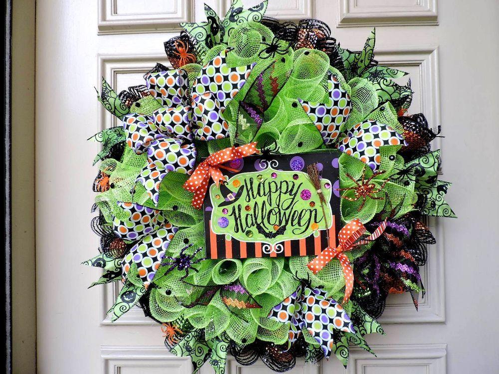 "Lime Green & Black Mesh Halloween Wreath - ""EYE POPPING"" - Door Wreath…"