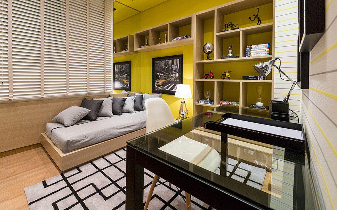 Quarto Do Apartamento Decorado Do La Vista Em Maring Bedroom  ~ Quarto Masculino Decorado Com Papel De Parede