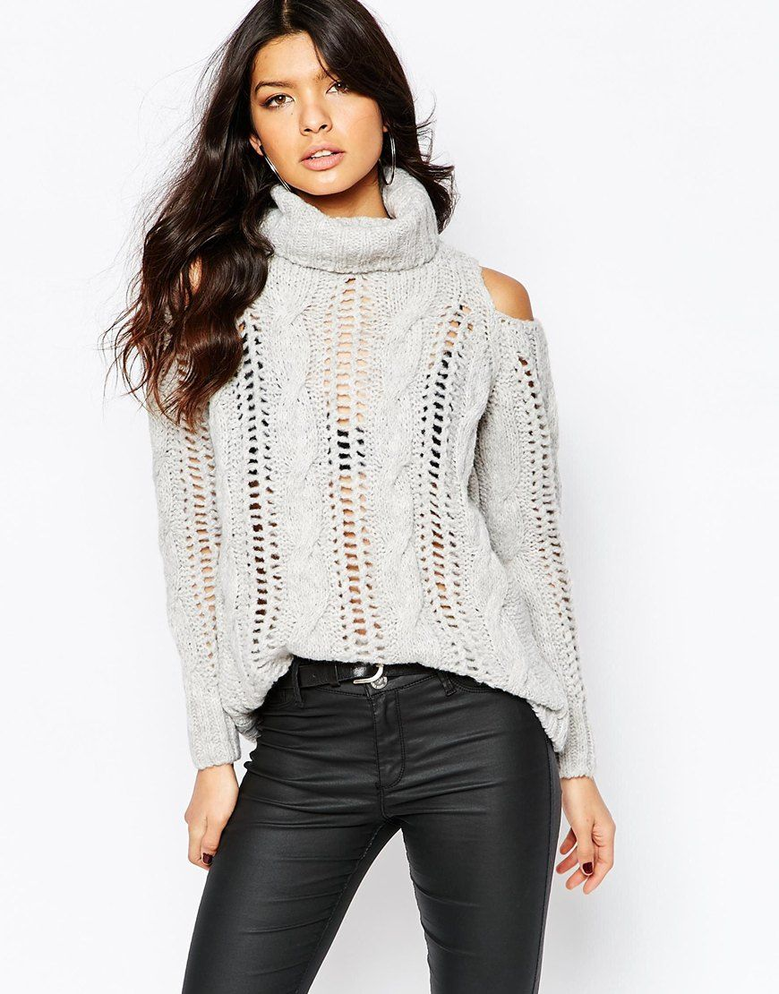 cddcc98001a River Island Cold Shoulder Cable Knit Sweater