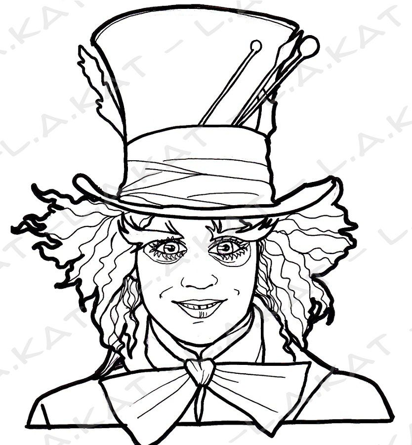 Chapelier fou mad hatter by minishkat on deviantart for Tim burton coloring pages