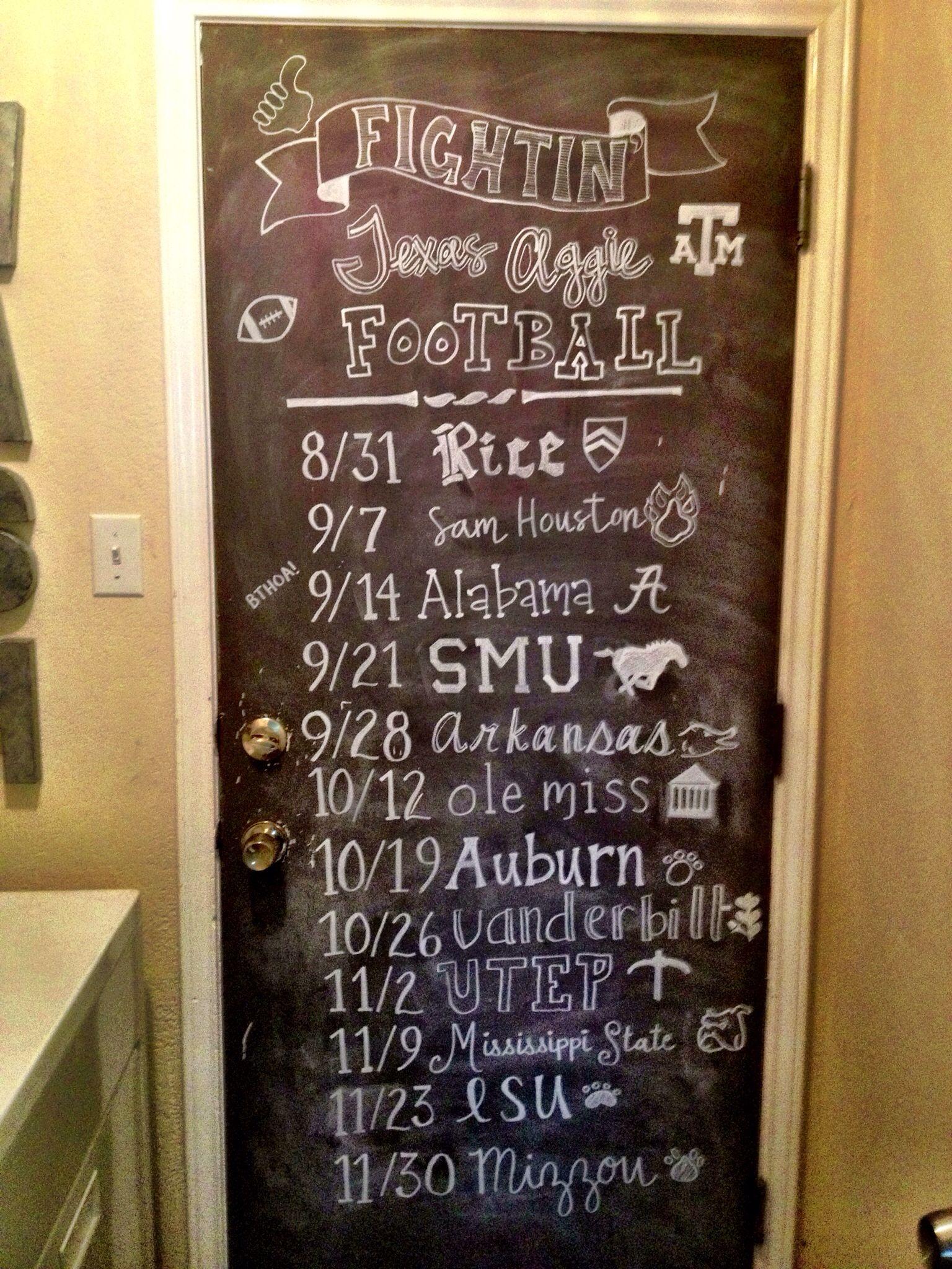 Aggie Football Schedule Chalkboard Art Aggie Football Chalkboard