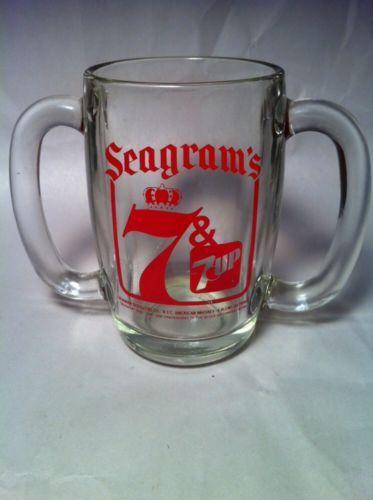 "Vintage Seagram's 7 & 7-Up 2 Handled Heavy Glass Drinking Mug - 5 1/8"" Tall"