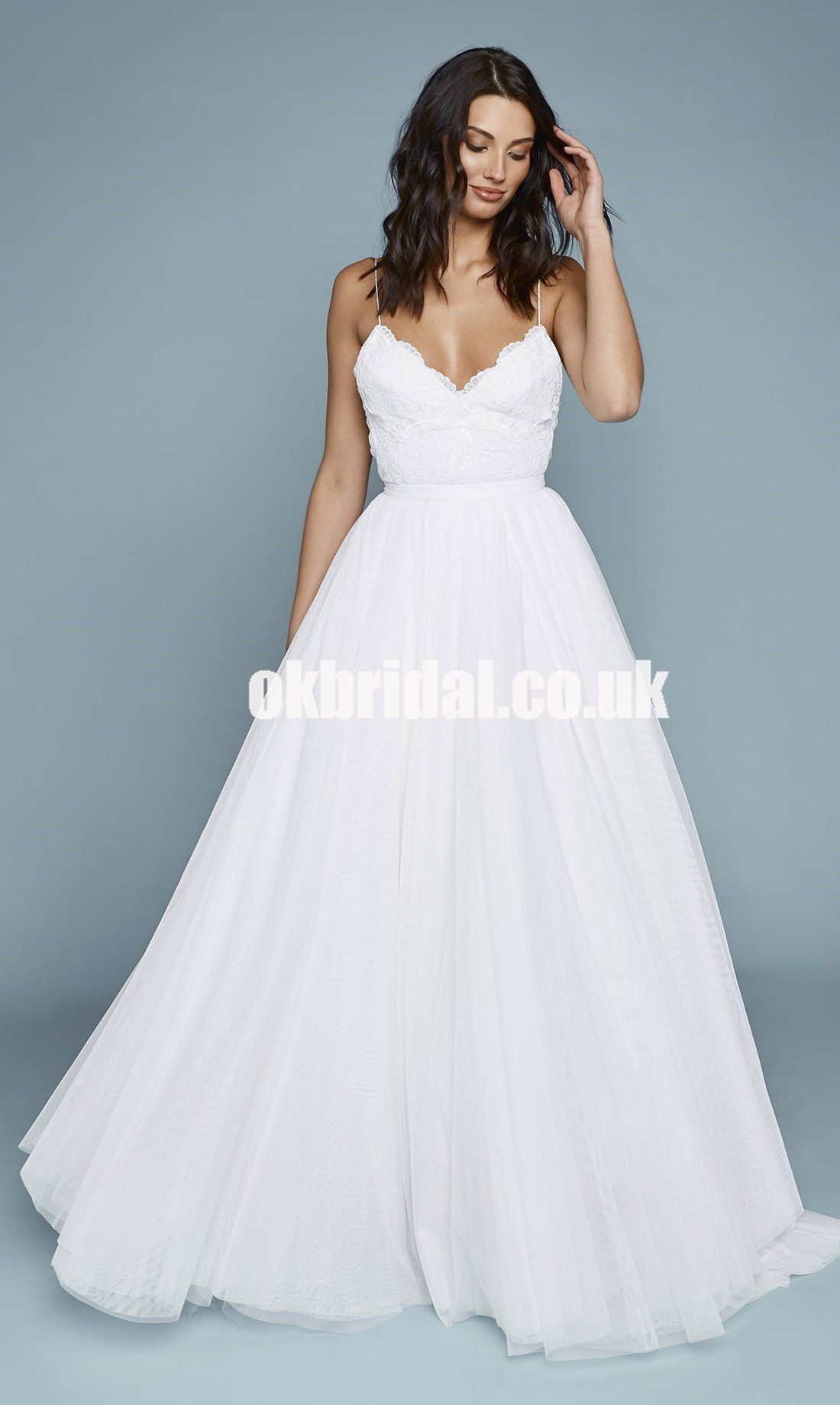 Charming Spaghetti Straps Lace Top Wedding Dresses, Backless Tulle A ...