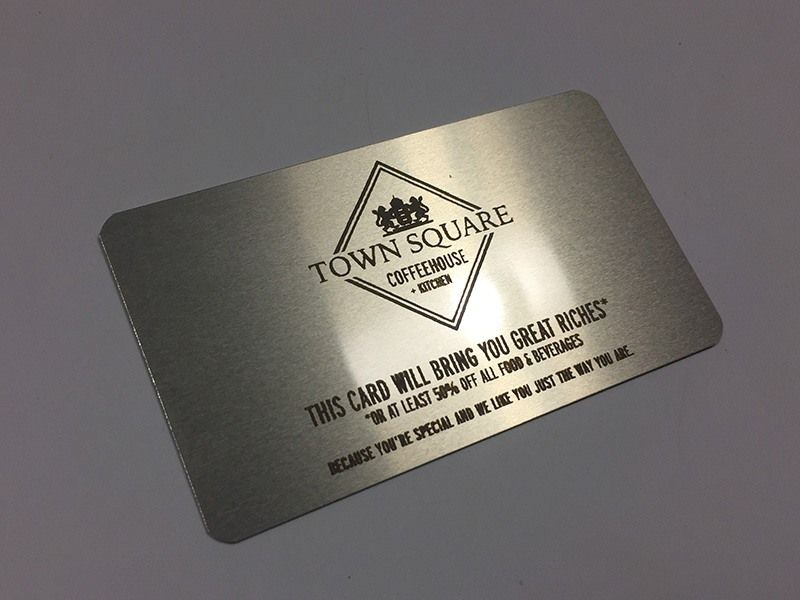 Business Card On A Silver Metal That S Laser Engraved Cool Business Cards Business Card Gallery Metal Business Cards