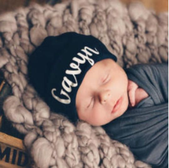 97252b7532e Personalized Newborn Hat Navy Blue Hospital Hat Baby Boy