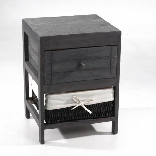 Meuble table de nuitEn bois couleur Ardoise1 panier en osier faisant