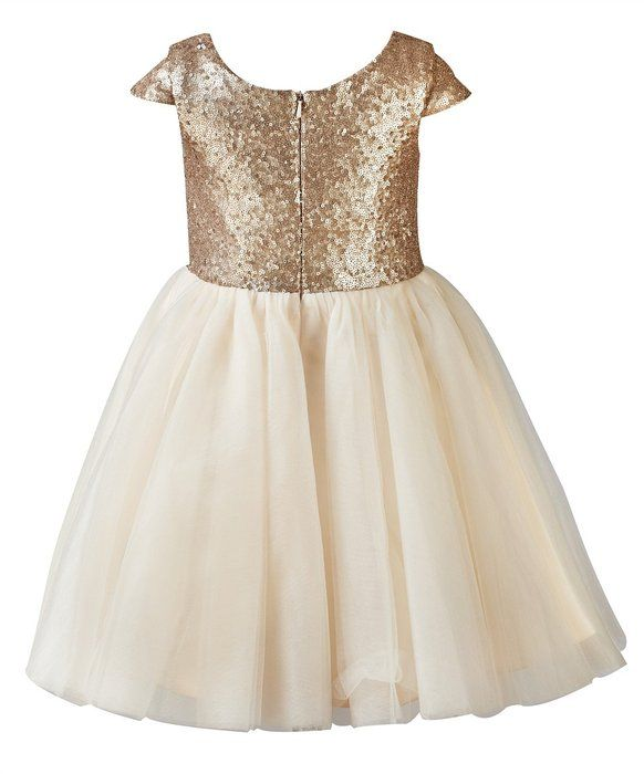 896524d9ef3 Princhar Sequin Tulle Short Girl Dress Little Girls Party Toddler Dress US  6T Champagne