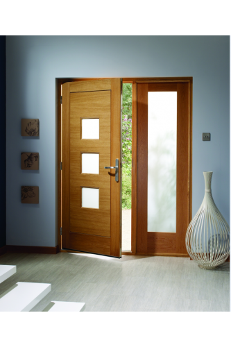 External Door Oak Turin With Obscure Glass Pattern 10 Sidelight And Sidelight Frame Kit