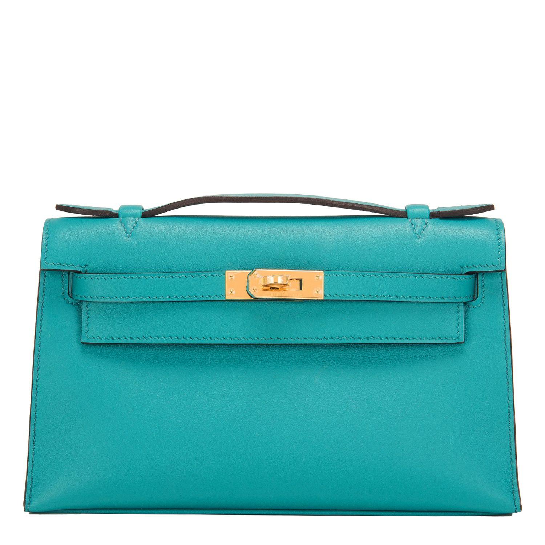 0ecb6b4f45ea  Hermes Mini Kelly Pochette Blue Paon Swift Gold Hardware  Clutch  Bag