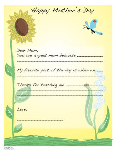 Special MotherS Day Letter  Activity Ideas    Letter