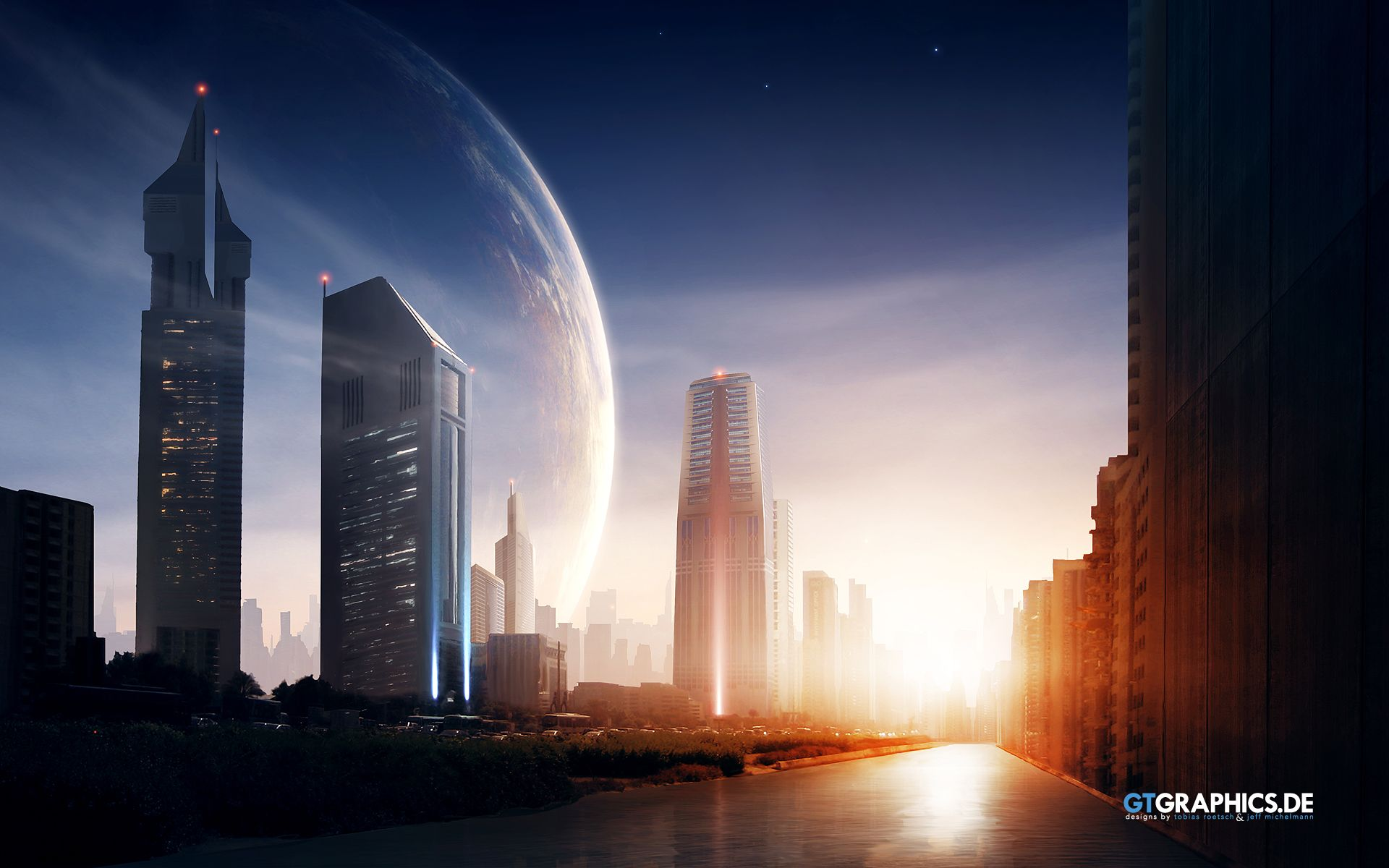Futuristic Cities Planets In The Sky Sunset Hd Wallpapers
