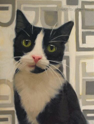 I'm Listening police car kitteh, cat painting, painting by artist Diane Hoeptner