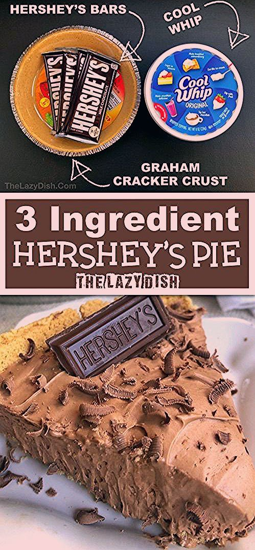 Photo of 3 Ingredient No-Bake Hershey's Pie – The Lazy Dish