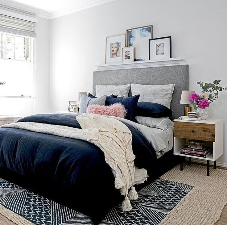 White And Neutral Spaces Cream Blanket With Tassels On Bed And Persian Vintage Rug Add Texture Vintage Mi Blue Bedroom Bedroom Interior Modern Bedroom Decor