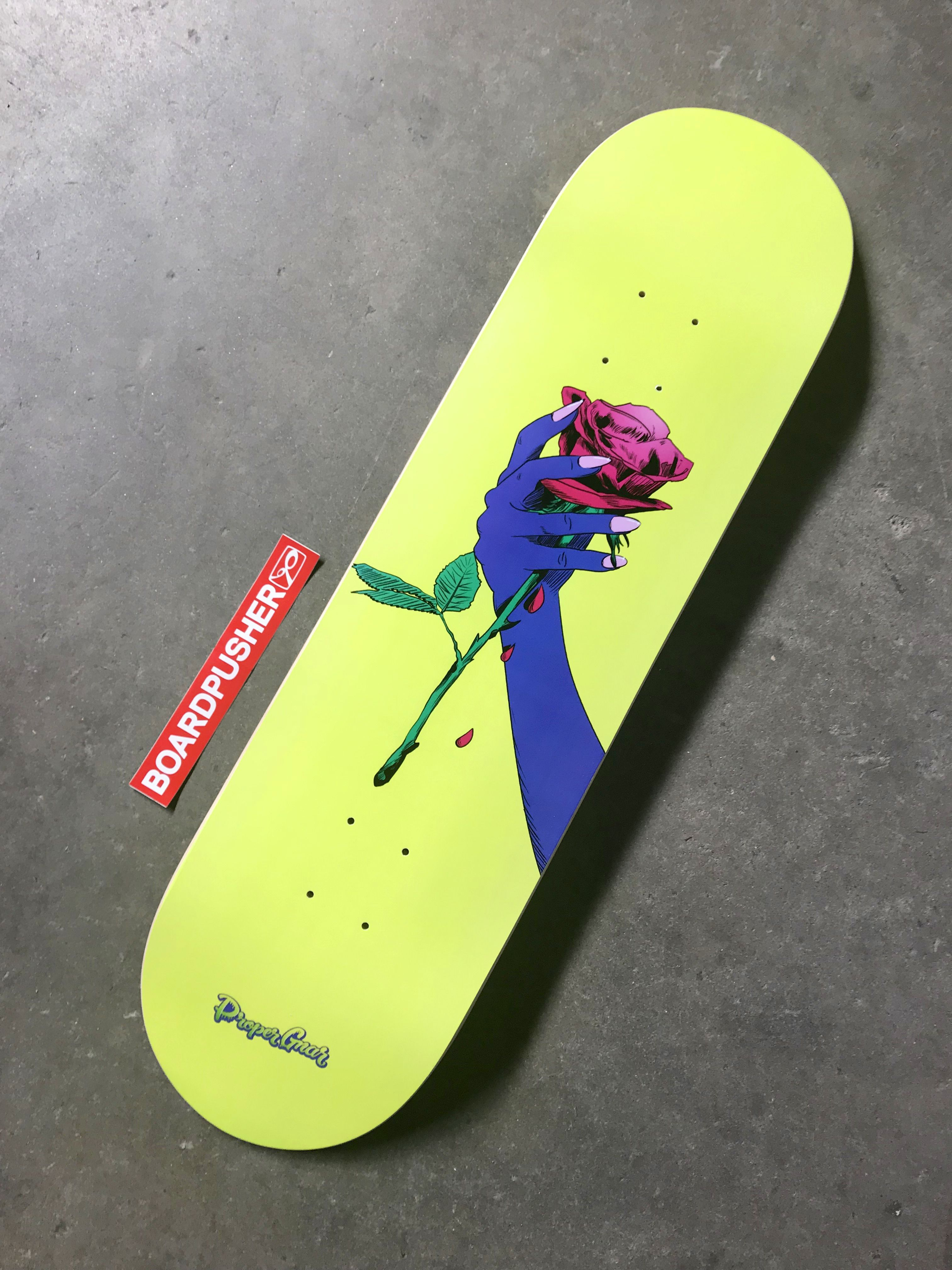 Rose Hand Today S Boardpusher Com Featured Deck Created By Latosha Stone Of Proper Gnar Find Out More Skateboard Deck Art Skateboard Design Painted Skateboard